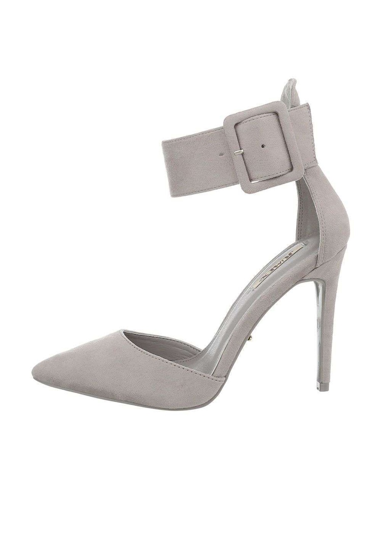 Grey Suede Pointed Toe Ankle Strap